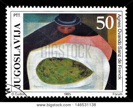 YUGOSLAVIA - CIRCA 1985 : Cancelled postage stamp printed by Yugoslavia, that shows painting by Agnes Ovando Sanz de Franck.