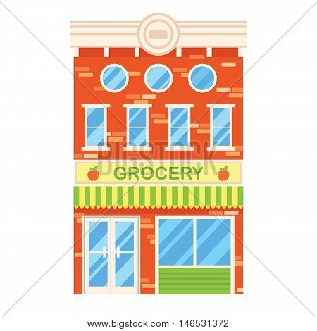 Vector illustration of retro building with grocery shop. Facade of a retro house in flat style. Three storey town building with grocery.