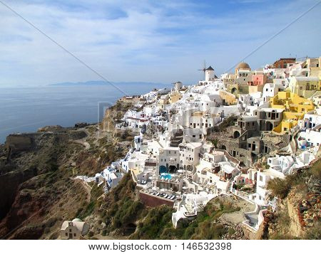 Breathtaking view of the famous Oia Village with Greek Style Architecture over the Caldera, Santorini Island of Greece