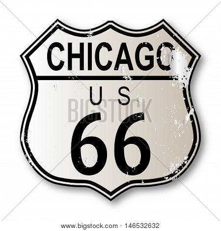 Chicago Route 66 traffic sign over a white background and the legend ROUTE US 66