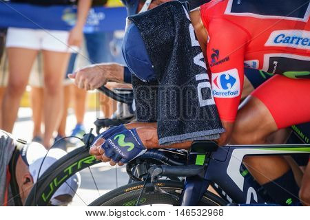 JAVEA - SEPTEMBER 9: Nairo quintana warms up with towel for the decisive time trial stage of La Vuelta on September 9, 2016 in Alicante, Spain