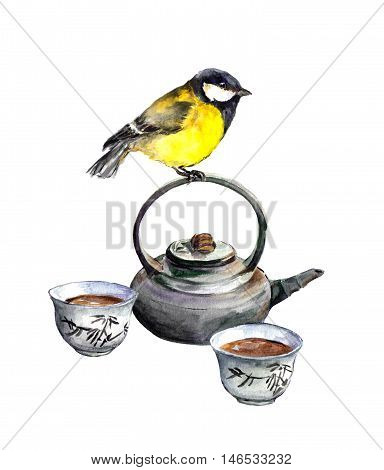 Tit bird and asian tea ceremony ware. Watercolor