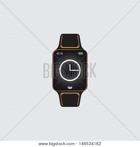 Black smart watch with white glowing hour face. Smart watch vector eps10 logo. Isolated smart watch sign.
