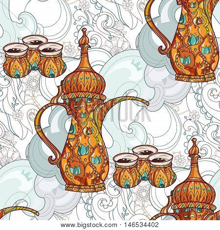 Arabic coffee maker dalla with cups seamless pattern. Greeting card or invitation, hand drawn sketch.Zen art hand drawn.