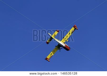 Amantea,, Italy - August 15, 2016 : Seaplane Canadair In Action