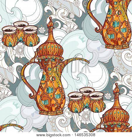 Arabic coffee maker dalla with cups seamless pattern. Greeting card or invitation, hand drawn sketch.Zen art hand drawn.