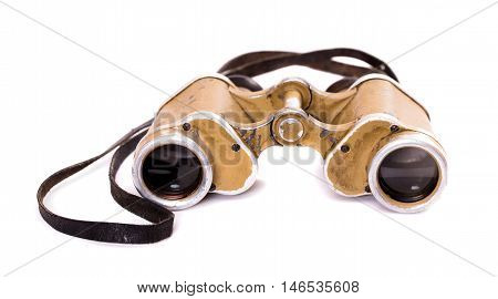 Old german military binoculars isolated on white