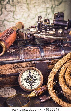 Old obsolete vintage nautical instruments vertical shot