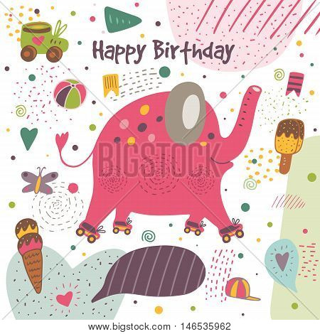 Cute hand drawn doodle postcard with elephant with roller skates ice cream flag ball butterfly heart cap polka dot abstract elements stripes. Happy birthday cover. Background for children