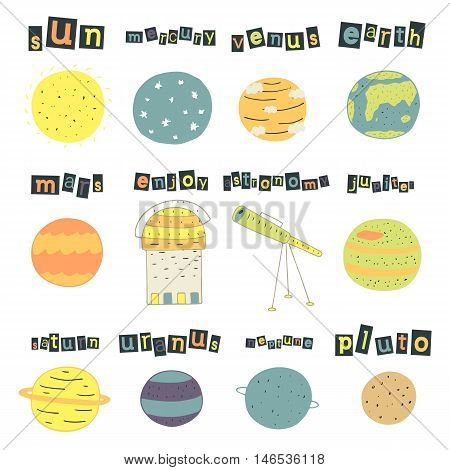 Cute hand drawn doodle cosmic objects planets set including sun mercury venus earth mars jupiter saturn uranus neptune pluto telescope Universe objects collection