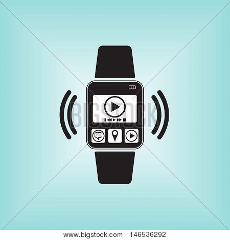 Play vector sign at smart watch. Play menu logo. Smart watch isolated. Smart watch vector illustration.