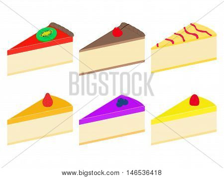 Vector illustration set of colorful flat cheesecakes. On an isolated white background.