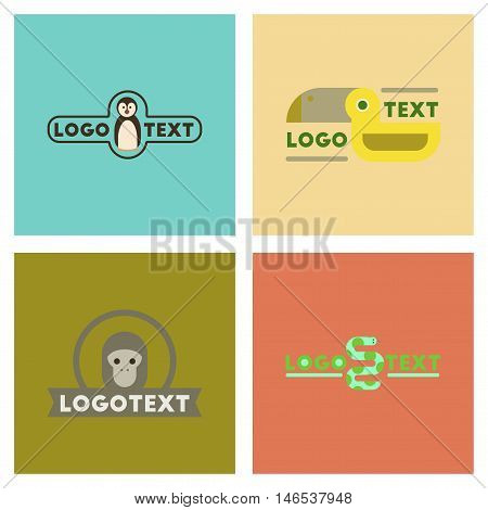 assembly of flat icons nature logo penguin snake monkey bird. Vector.
