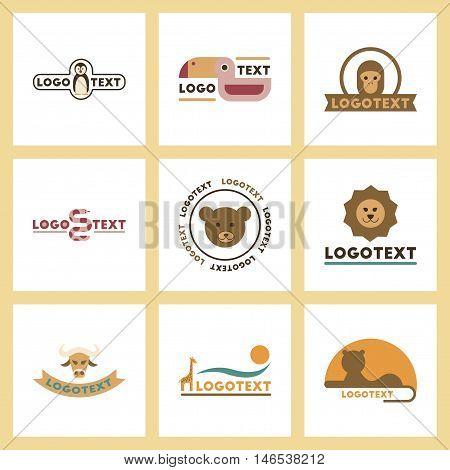 assembly of flat icons nature logo bear lion giraffe penguin snake monkey bird bull. Vector.
