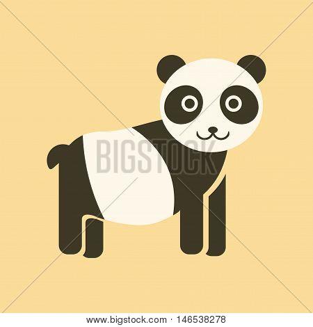 flat icon on stylish background Panda bear