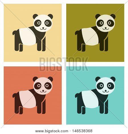 assembly of flat icons nature Panda bear. Vector.