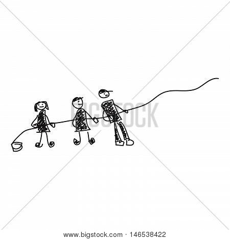 Doodle Sketch Of People Pulling A Rope On White Background