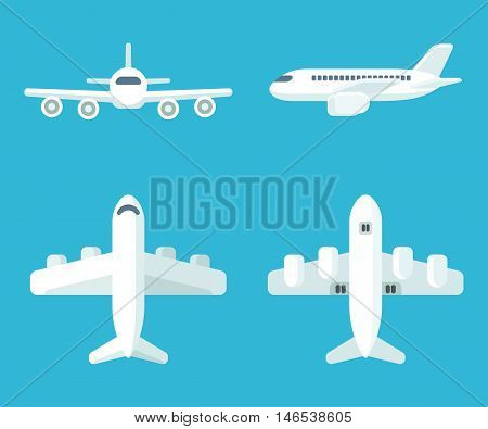 Airplane set in flat cartoon style. Top and bottom view front view and profile. Vector illustration.