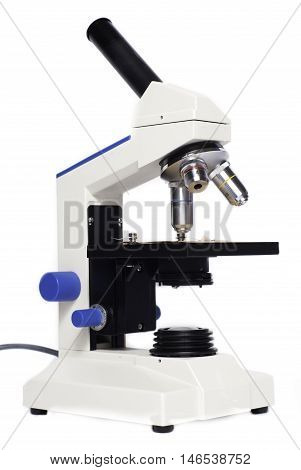 Microscope lenses and tools isolated on white background. scientific modern microscope