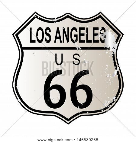 Los Angeles Route 66 traffic sign over a white background and the legend ROUTE US 66