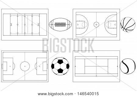 Sport grounds for soccer football basketball and tennis. With balls. Vector illustration outline isolated on white background.