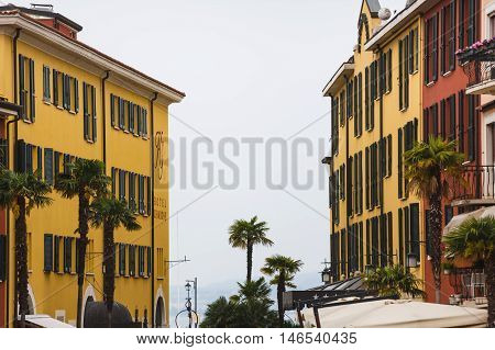 Sirmione Italy - May 09 2016: Hotels in Sirmione on a Vittorio Emanuele street in rainy weather