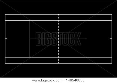Tennis court black icon. Vector outline illustration