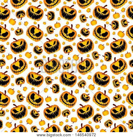 Isolated Vector Yellow Orange Festive Scary and Spooky Halloween Pumpkin on White Background, Holiday Seamless Halloween Pattern