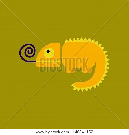 flat icon on stylish background reptile chameleon