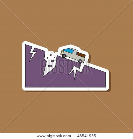 paper sticker on stylish background of natural disaster earthquake car