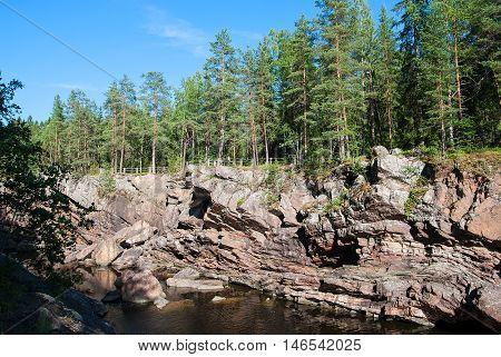 Imatra. Finland. Kruununpuisto Park and canyon of Imatrankoski (The Imatra Rapid) on The Vuoksi River.