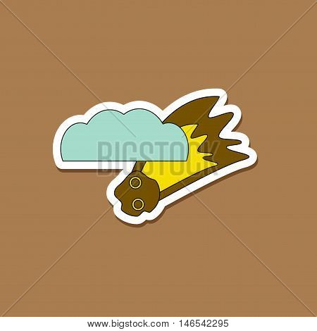 paper sticker on stylish background of falling meteorite