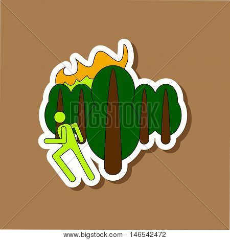 paper sticker on stylish background of fire in forest human
