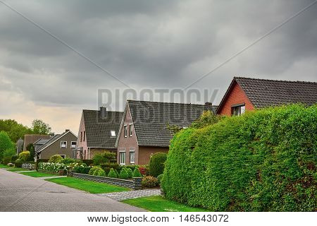 Row of Two-story Houses in Small City of Germany