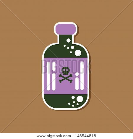 paper sticker on stylish background of potion in bottle