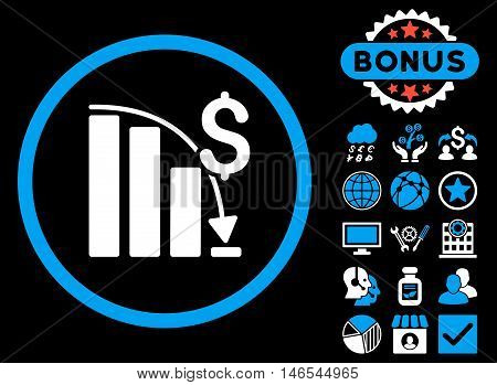 Epic Fail Chart icon with bonus. Vector illustration style is flat iconic bicolor symbols, blue and white colors, black background.