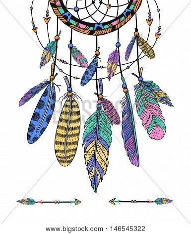 Ethnic dreamcatcher, feathers. Hand drawn vector illustration.
