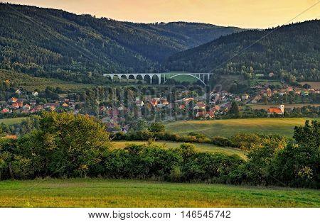 village Dolni Loucky at dusk with the railway bridge South Moravia Czech republic