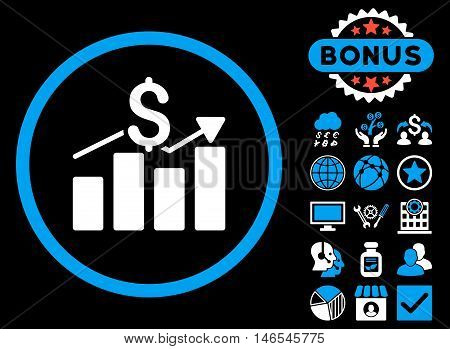 Sales Chart icon with bonus. Vector illustration style is flat iconic bicolor symbols, blue and white colors, black background.