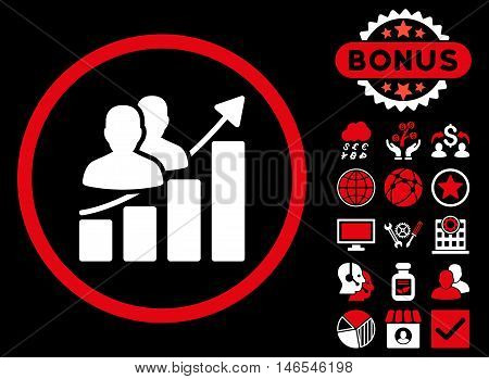 Audience Growth Chart icon with bonus. Vector illustration style is flat iconic bicolor symbols, red and white colors, black background.