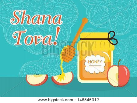 Greeting card for the Jewish New Year Rosh Hashanah Shana Tova. Rosh Hashanah greeting card. Greeting card with the inscription Shana Tova. Honey and apples. Vector illustration