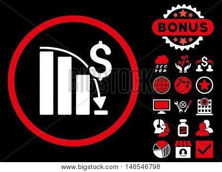 Epic Fail Chart icon with bonus. Vector illustration style is flat iconic bicolor symbols, red and white colors, black background.
