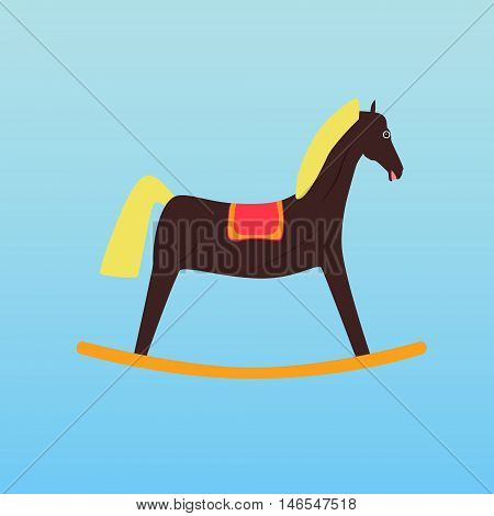 Vector illustration of a children's toy rocking horse on a light background