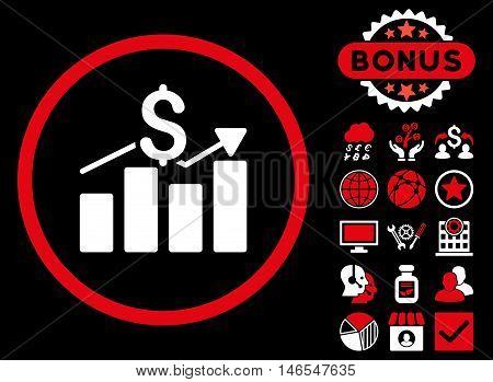 Sales Chart icon with bonus. Vector illustration style is flat iconic bicolor symbols, red and white colors, black background.