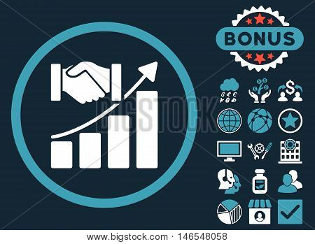 Acquisition Growth icon with bonus. Vector illustration style is flat iconic bicolor symbols, blue and white colors, dark blue background.