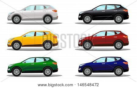 Set of crossover vehicles in a variety of colors. Vector illustration on a light background