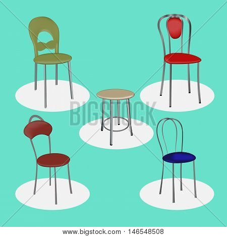 Vector illustration of a set of metal chairs for bars cafes