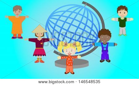 Vector illustration of children of different nations of the world together