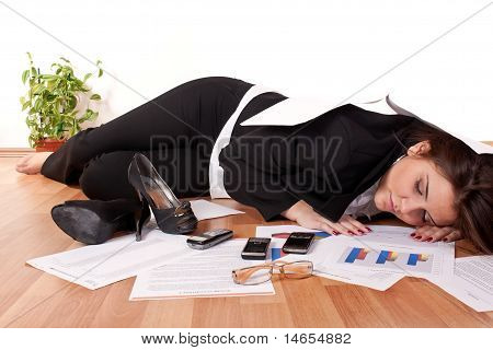 Business Woman Sleeping On Floor