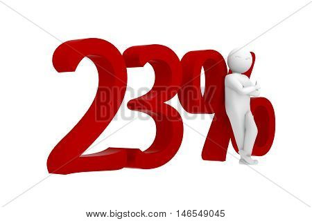3D Human Leans Against A Red 23%